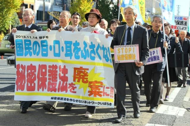 秘密保護法案の廃案をアピールするデモ参加者=11月14日、水戸市
