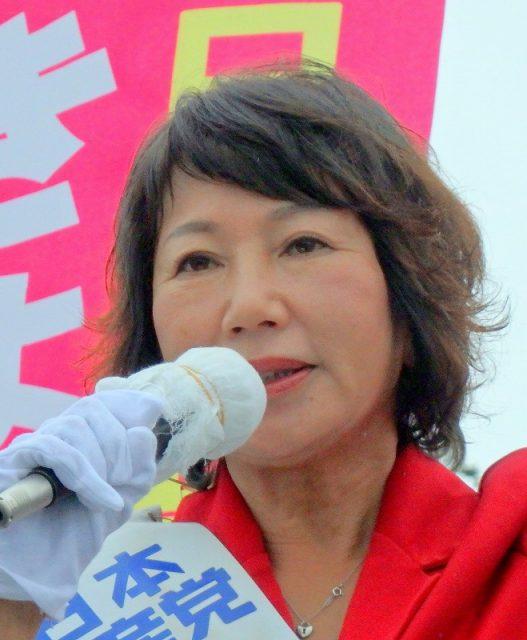 「選挙区は小林きょう子に、比例は日本共産党に」と訴える小林きょう子候補=7月9日、水戸市