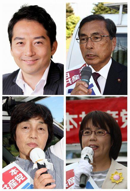 いがらし立青市長候補、滝口隆一候補、橋本けい子候補、山中まゆみ候補(写真左上から)