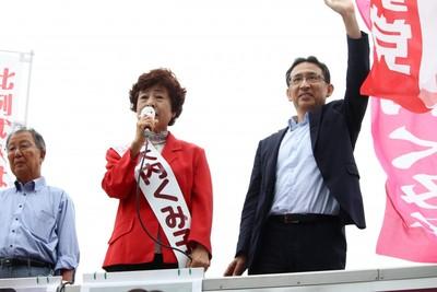「一人ひとりが大事にされる政治を実現しよう」と訴える大内参院茨城選挙区候補