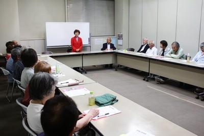 茨城県西市民連合のつどいで訴える大内くみ子候補