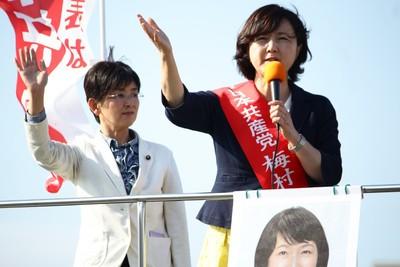 「共産党を大きくし、自公政権に厳しい審判を下そう」と訴える梅村さえこ参院比例候補